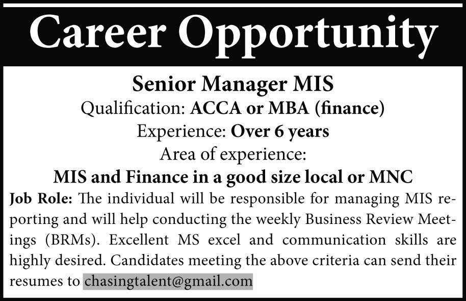 Senior Manager MIS Required
