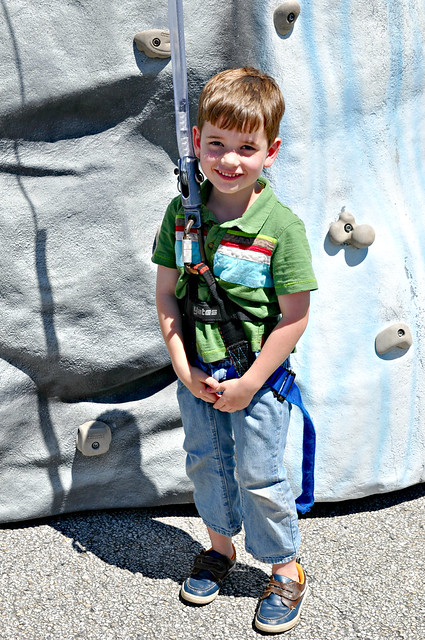 Jett at the Rock Climbing Wall