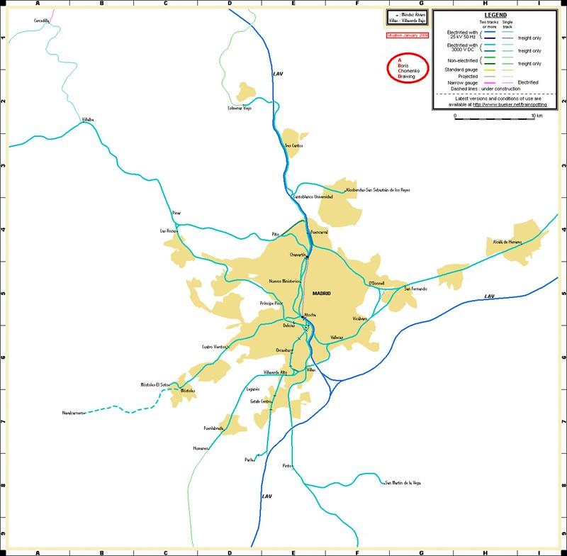 Mapa comboio Madrid