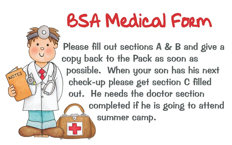 Bsa Medical Form Bsa Medical Release Form Doc Bsa Medical Form Free