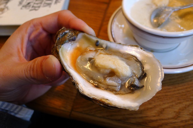 oyster with condiments