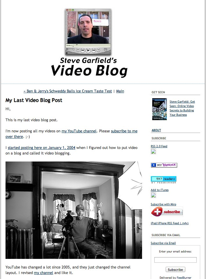 My Last Video Blog Post - Steve Garfield's Video Blog