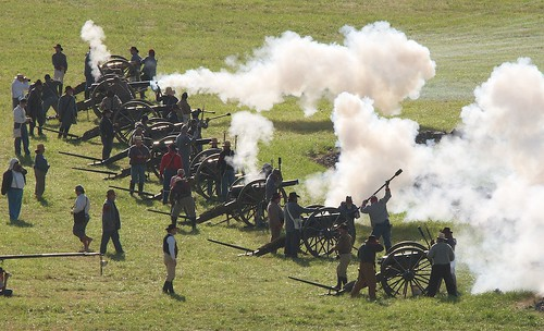 Confederate Artillery Firing During the Battle of East Cemetery Hill