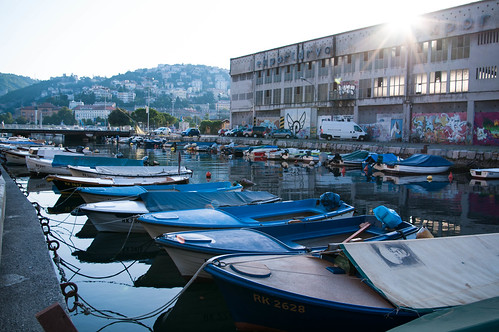 city morning shadow sea summer sky urban sun reflection monument water architecture sunrise buildings boat town walks theater market pigeon facades fountains barge rijeka ivanzajc