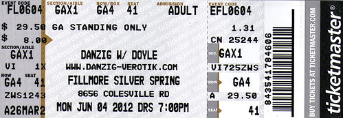 20120604 - 0 - Danzig with Doyle at Fillmore - ticket stub