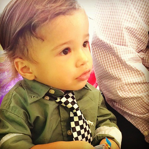 Waiting for auntie Carolyn & uncle Kyle's wedding.  He looks so innocent...