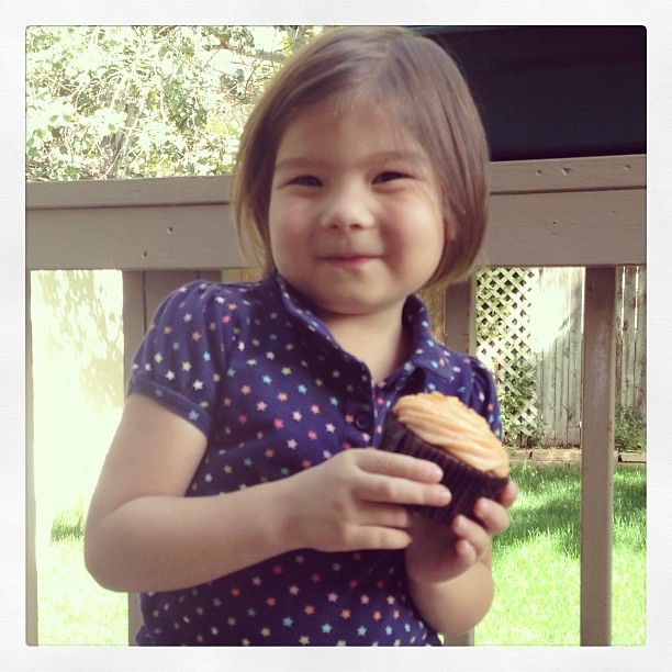 She requested a cupcake for lunch. Since today's her birthday why not right? Happy 4th birthday, Anna!