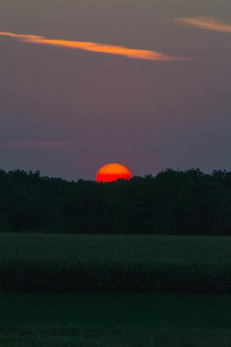 sunset sun corn dusk iowa dubuque dubuquecounty sdgiere