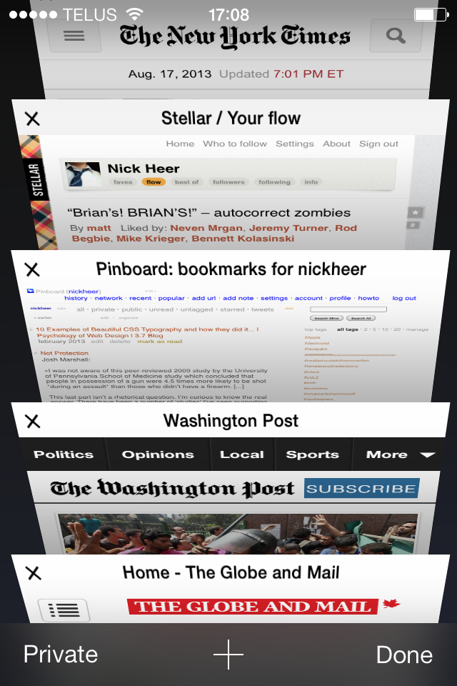Tabs in Safari