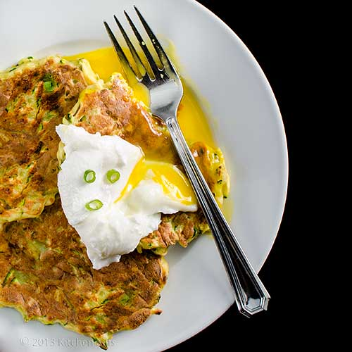 Zucchini Pancakes with poached egg garnish