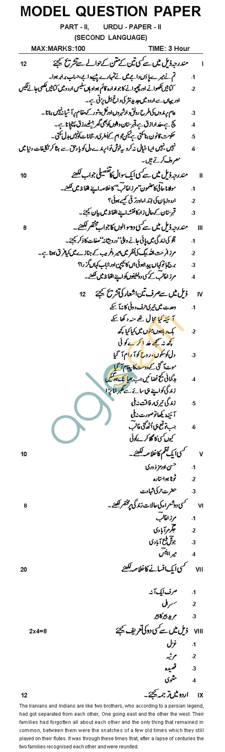 AP Board Intermediate II Year Urdu Model Question Paper