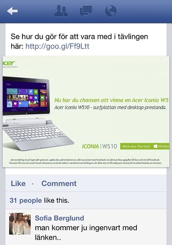 Acer Facebook competition