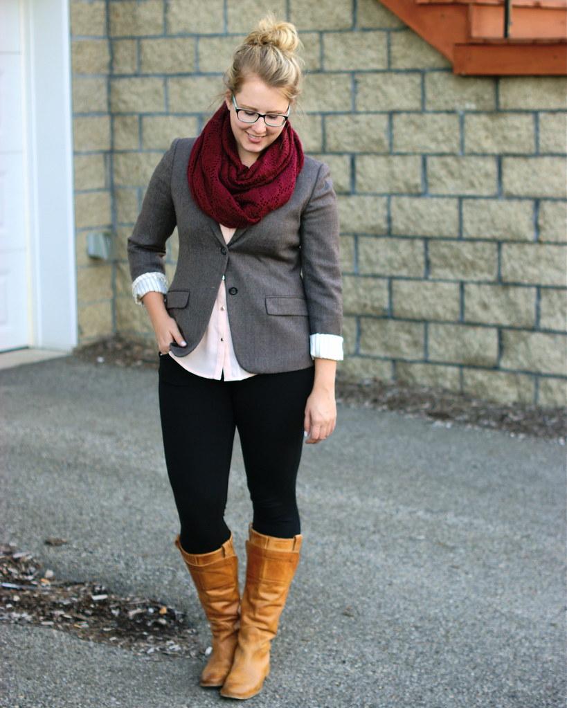 tweed blazer, frye boots, maroon scarf