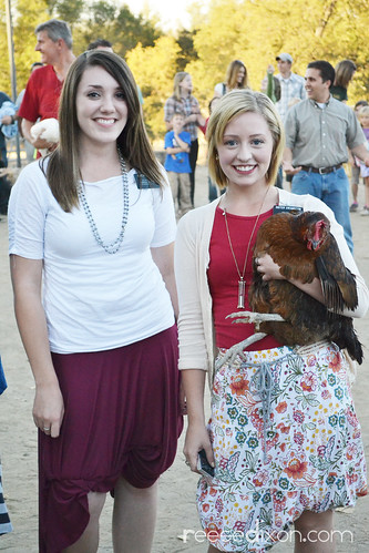 Sister Missionaries caught the chicken