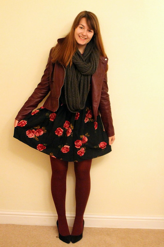 Leather jacket, floral Primark dress, burgundy tights, satchel, heels, uk style blog