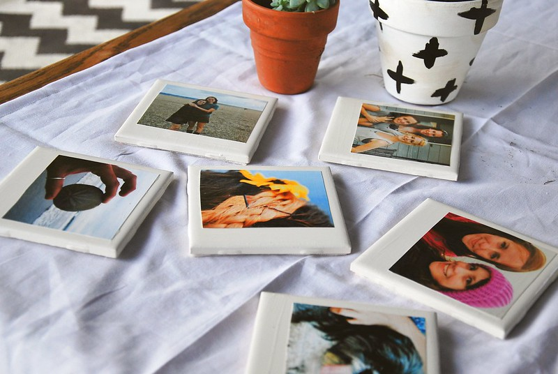 DIY polaroid coasters