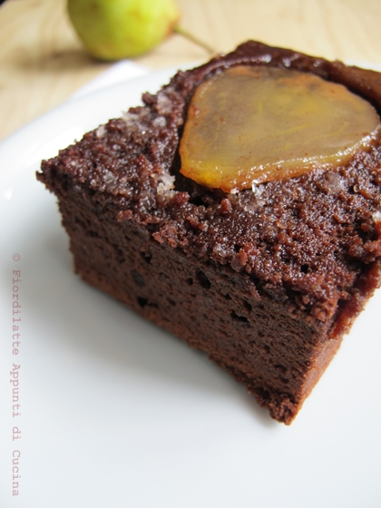 Upside down pear chocolate cake