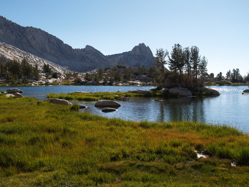 View west from the upper Young Lake, with Ragged Peak in the distance