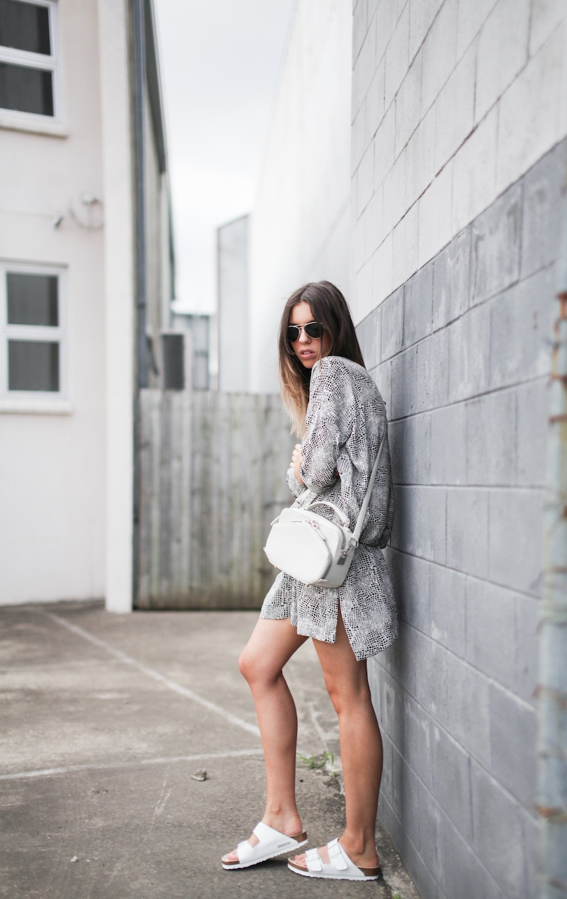 modern legacy fashion style blogger australia outfit street style willow print shirt dress white birkenstocks alexander wang rafael bag monochrome bare legs (5 of 9)