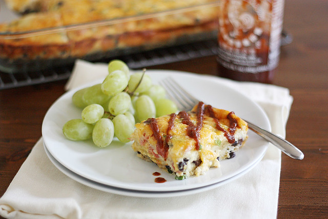 cheesy southwest black bean egg bake