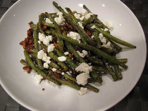 Roasted Green Beans with Walnuts & Goat Cheese