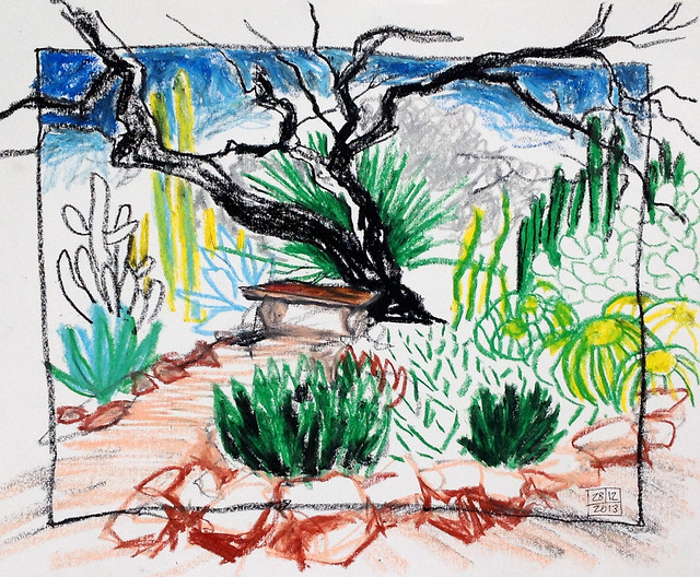 At the Tucson Botanical Gardens; oil pastel sketch