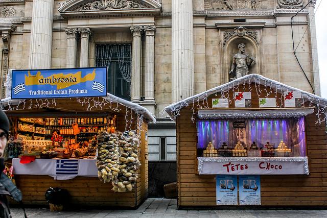 Mercado de Navidad de la Plaza de la Bolsa, Bruselas, capital de Bélgica