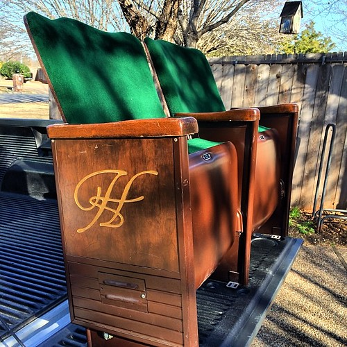I got some well used chairs today. Waco Hippodrome #wacotown #2014hoohaa365