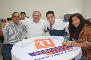 Professor Jonias e Jô Almeida com o presidente David Martins e Fábio Pereira