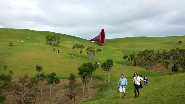 Traipsing around Gibbs Farm with Kapoor's sculpture in the background