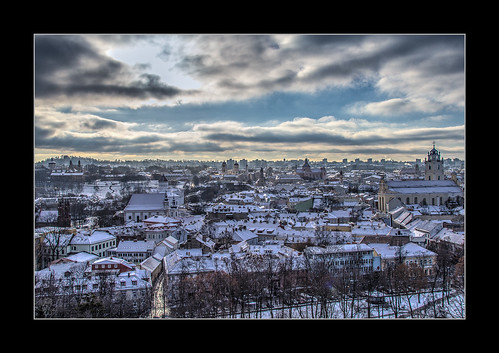 city snow oldtown lithuania vilnius vilna lituania