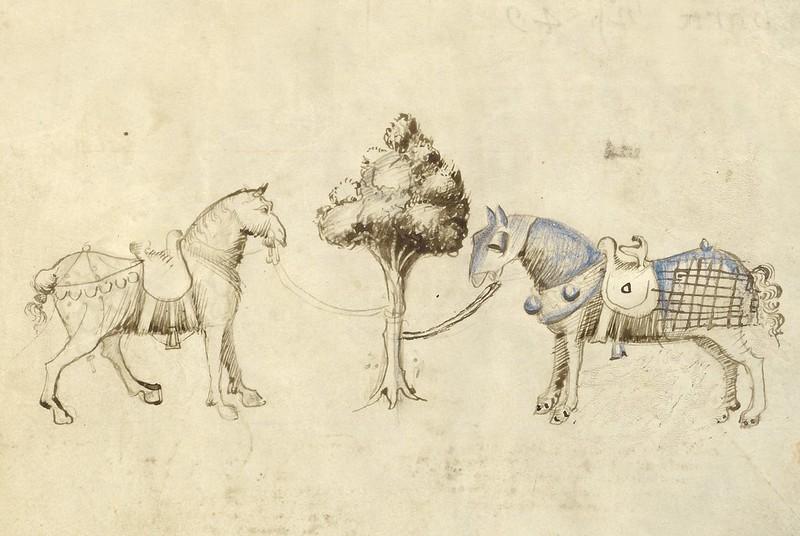 Fiore dei Liberi - Ludwig XV 13, Fol. 47 (Two Horses) a