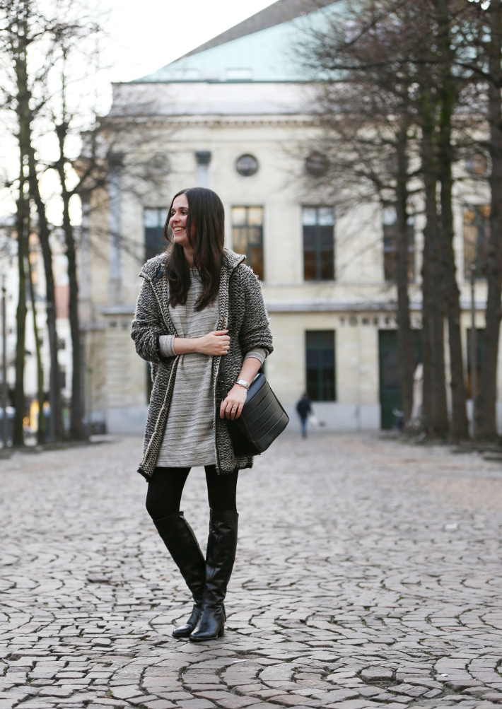 grey outfit: zara knit, mango sweater dress, over the knee boots