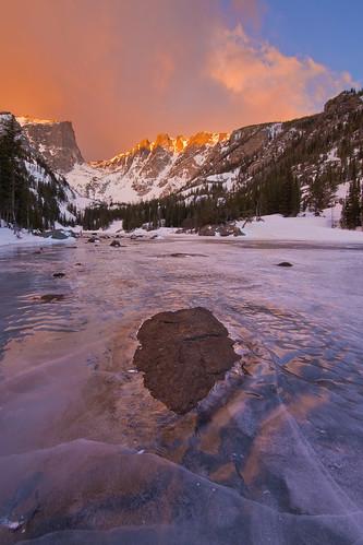 ice sunrise rockymountains rockymountainnationalpark frozenlake dreamlake canon6d canonef14mmf28lii
