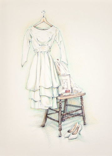 A drawing for Vera of her wedding dress.