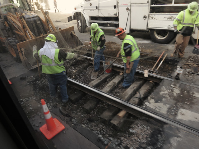 the skeleton of Muni rails revealed.  construction on the N Judah, San Francisco (2015)