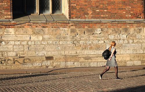 street city sunset woman sunlight lady walking walk bricks streetphotography redhead fujifilm hurry brickroad xe1 xc50230