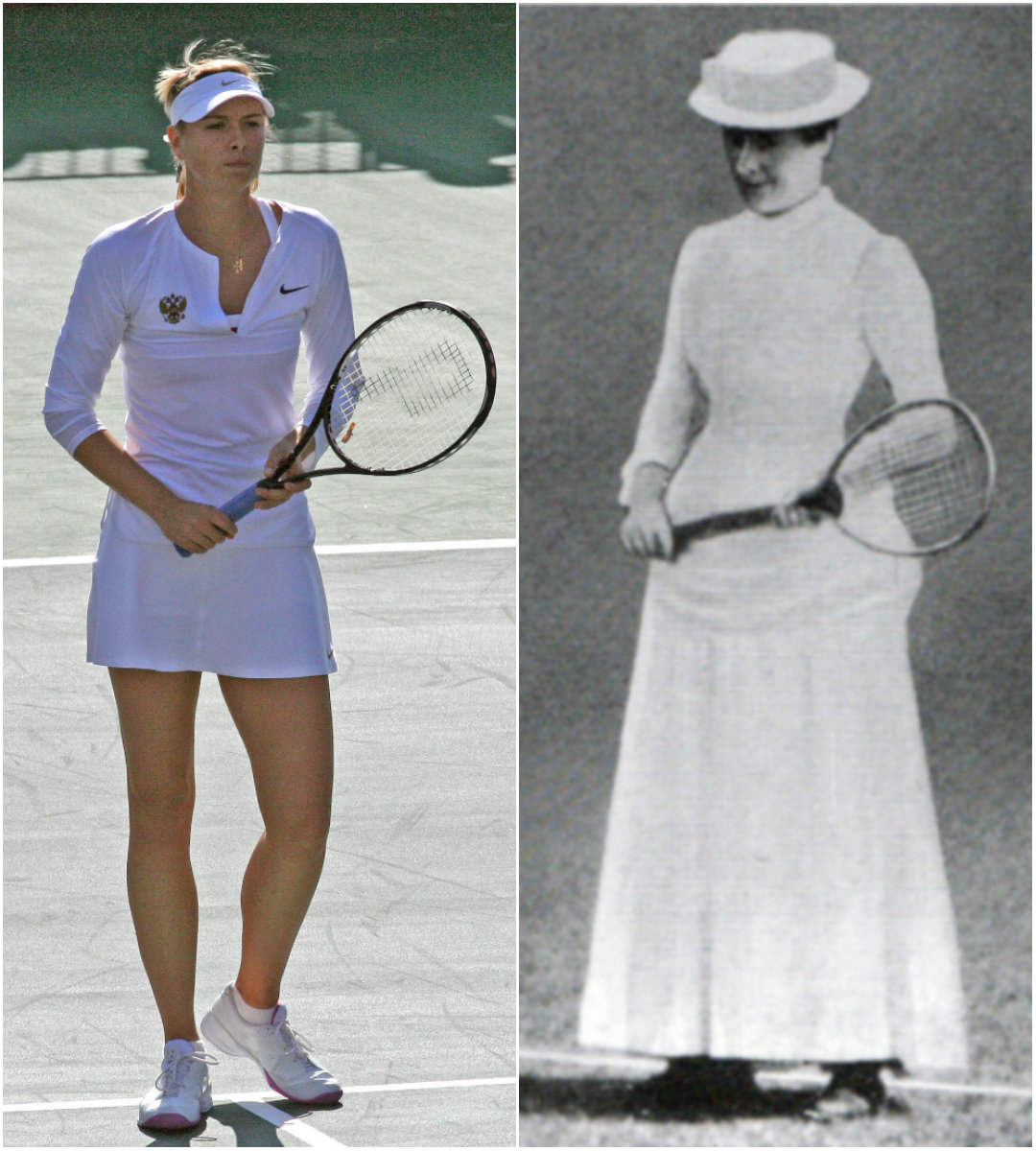 Maria Sharapova and Maud Watson dressed for tennis.