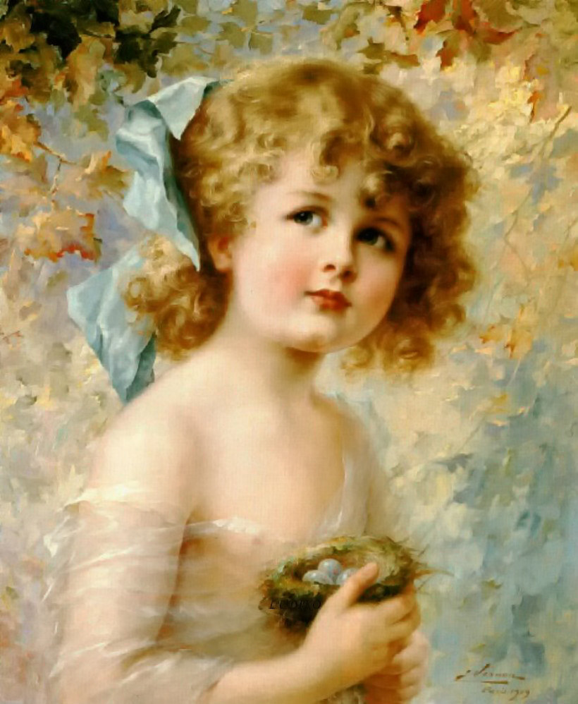 Girl Holding a Nest by Emile Vernon, Date unknown