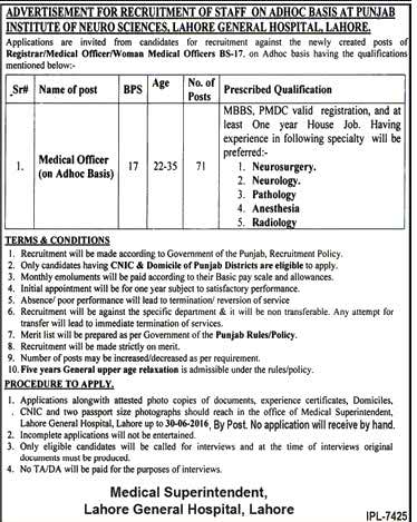 Punjab Institute of Neuro Sciences Lahore 71 Medical Officers Required