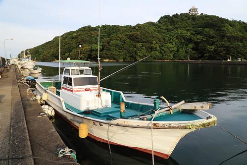 sea castle japan landscape harbor countryside 日本 fishingboat tokushima hiwasa 漁船 徳島県 日和佐城 美波町 日和佐港