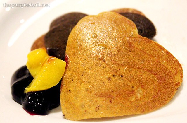 Slappy Cakes Heart Pancakes with Mangoes and Blueberries