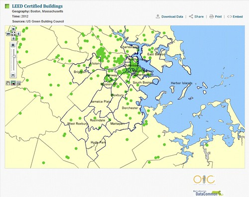 location of certified green buildings (courtesy of Boston Indicators Project)