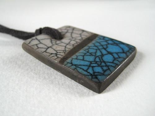 Raku Pendant: Aqua