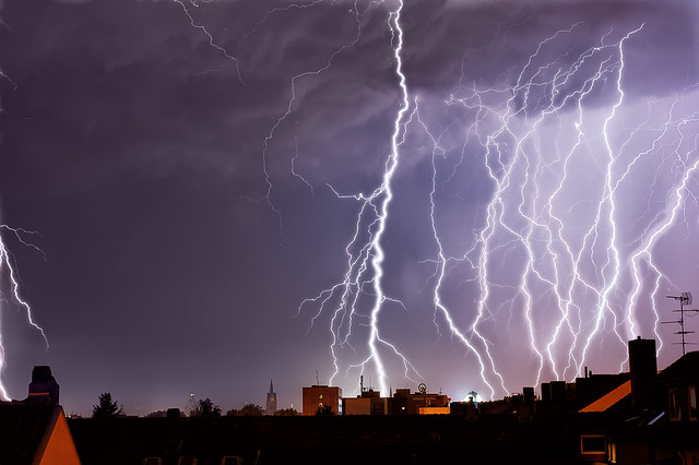 Lightnings over Hannover Skyline