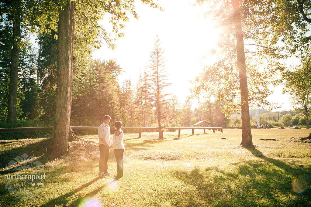 Engagement Photo Sunflare Wilkins Park Prince George British Columbia