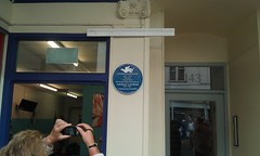 Photo of Charles Dickens and Thomas Latimer blue plaque