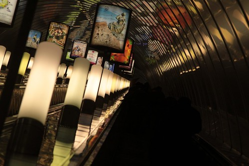 Looking up the 125 metre long escalator to the surface