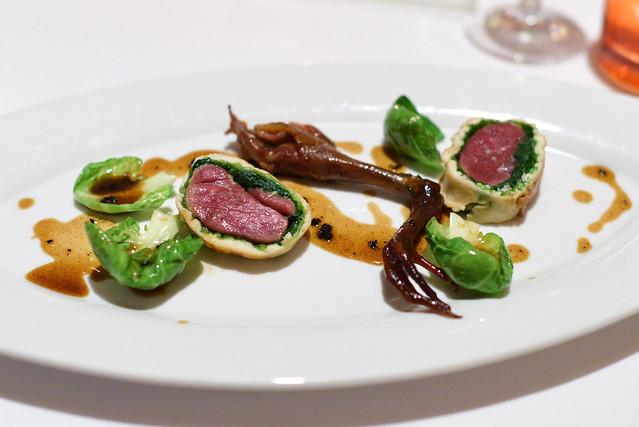 Squab en Crepinette, Savoy Cabbage, Perigord Sauce