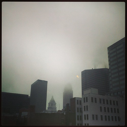 A foggy morning in downtown Cincinnati...